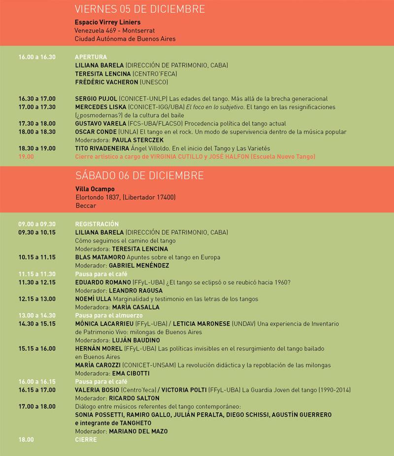 Programa del IV Congreso Internacional de Tango